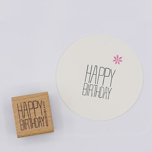 Blokstempel happy birthday | De Kroonluchter