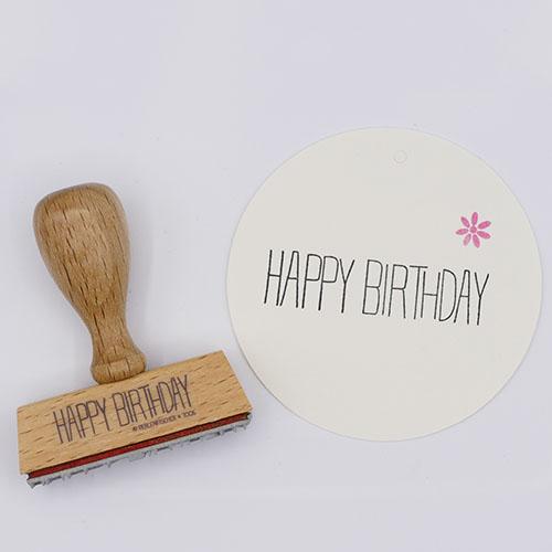 Stempel tekst Happy Birthday | De Kroonluchter