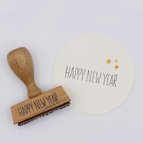 Stempel tekst Happy new year | De Kroonluchter